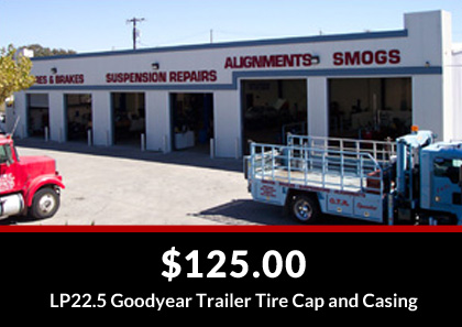 $125.00 - LP22.5 Goodyear Trailer Tire Cap and Casing